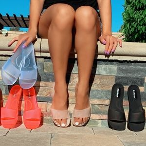 Neon Pink Jelly Slip-On Sandals
